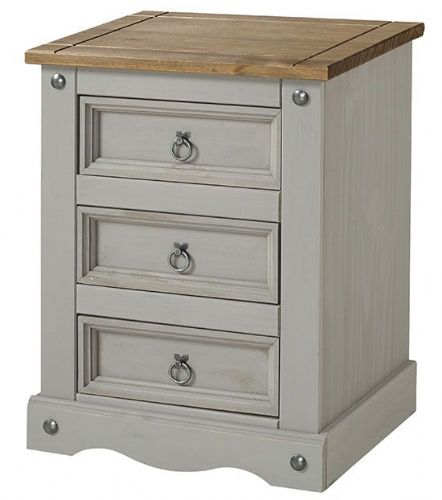 Premium Corona Grey Wash 3 Drawer Bedside